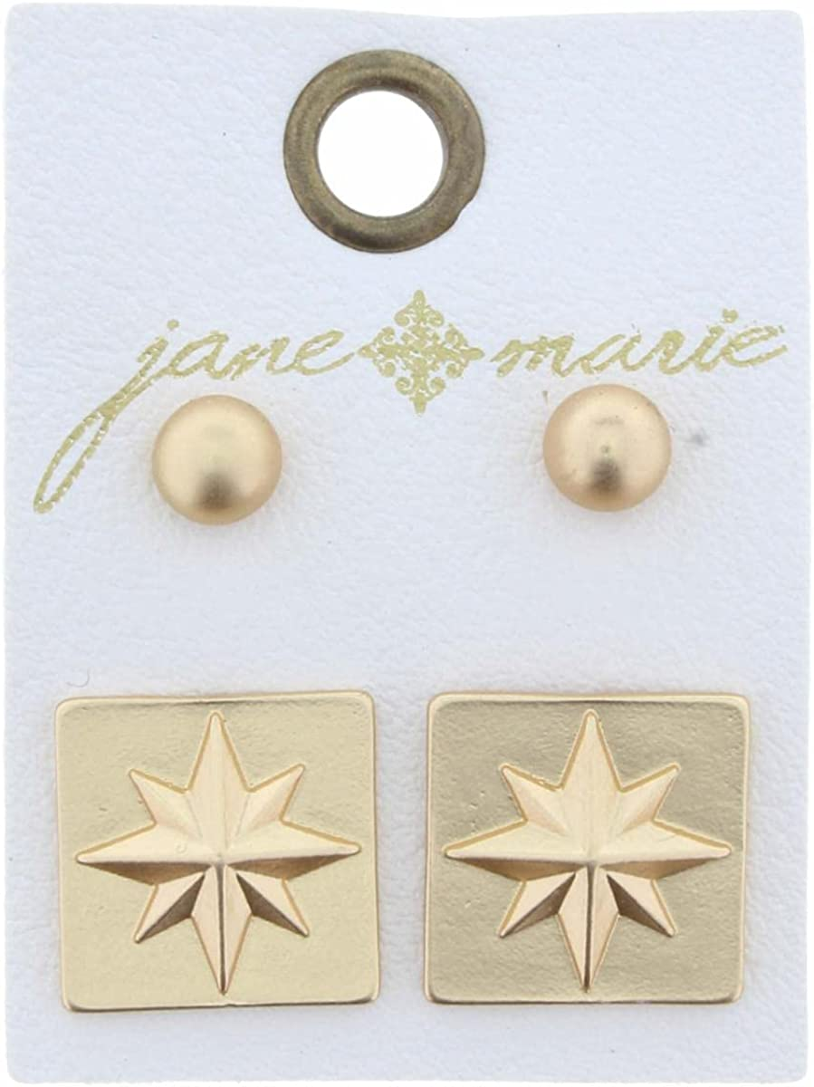 Set of 2, Gold Ball & Star Square Earring