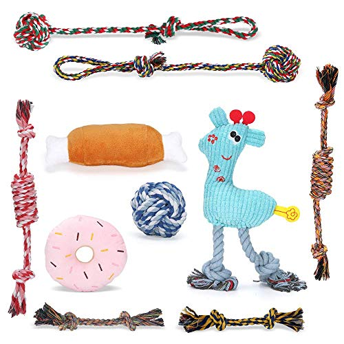 KIPIDA Welpenspielzeug für Hunde,10er Set Hundespielzeug für Welpe Kleine Hunde,Welpen Zahnen Spielzeug Baumwollknoten Spielset Seil Hund Seil Kauspielzeug Set und Quietschende Plüsch Hundespielzeug