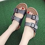 Ririhong Sandalias para Mujer Verano 2021 Nuevas Zapatillas de Todo fósforo Chanclas de Playa de Fondo Plano Retro para Mujer, Ropa Exterior de Moda-Blue_39