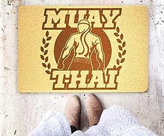 Muay Thai Fighting Sport Handmade Doormat Welcome Muay Thai Floor Mat Entrance Door Mat Home Supplies Outside Inside Décor Accessories Unique Gift