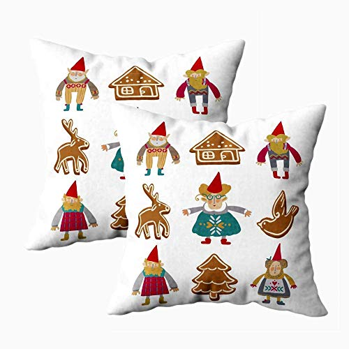 Fundas de almohada de cama, fundas de almohada con cremallera, fundas de almohada con cremallera, juego de personajes fantásticos de cuento de hadas navideño escandinavo, clip art mágico, fundas de al