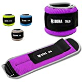 BONA Fitness Adjustable Ankle Weights with Reflective Trim/2-5lbs (1 Pair) Durable Ankle Wrist...