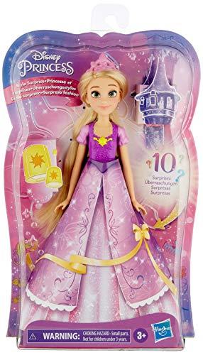 Hasbro Disney Princess Style Surprise Rapunzel, bambola con 10 accessori segreti, bambola con sorprese nascoste per bambini dai 3 anni in su