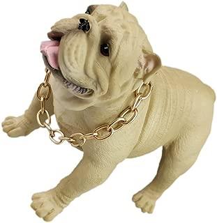 Nuanmu Bulldog English Bulldog Statue Pet Portrait Dog Statue Figurine Memorial Car Dashboard Decors Toy Bulldog (White)