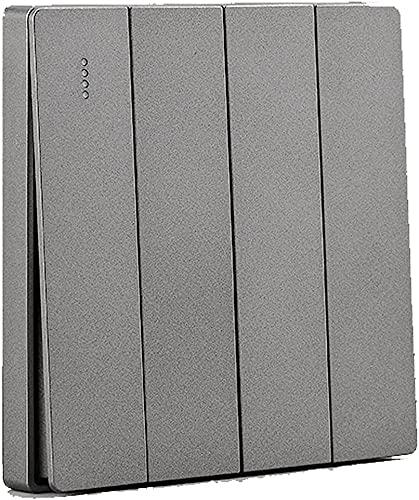 PJDOOJAE Minimalista interruptor gris Interruptor interior 1-4gang interruptor de empuje de 2 vías Panel de interruptor de pared nórdico 86 interruptor de hogar oculto 86 Tipo interruptor de balancín