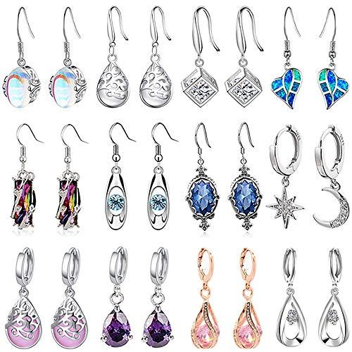12 Pair Crystal Drop Dangle Earrings Fashion Silver Teardrop Earrings For Women Cubic Zirconia Hypoallergenic Earring Set Jewelry Birthday Gifts Best Friend