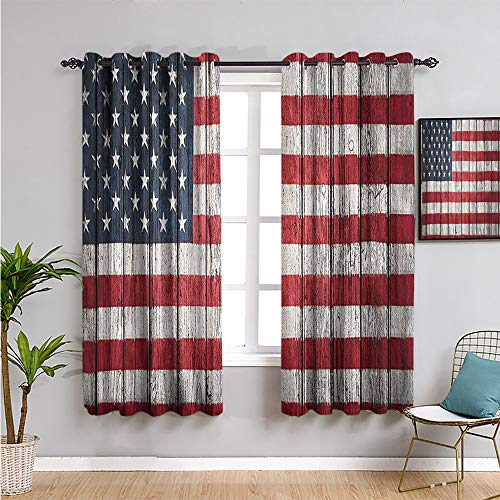 USA Flag Decor Thermal Insulated Room Darkening Curtains, Curtains 45 inch Length Easy to Install red Blue White W63 x L45 Inch