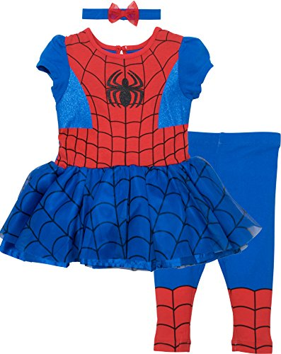 Marvel Spiderman and Captain America Girls' Costume Dress, Leggings and Headband Set (5T, Spiderman)