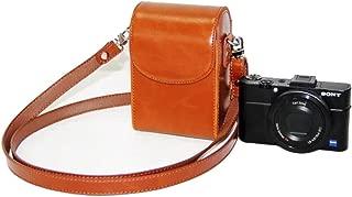 Mercs 高級合皮レザー ミラーレス一眼 汎用型 カメラケース Sony RX100 専用 多機種互換 ショルダーベルト付 (ブラウン)