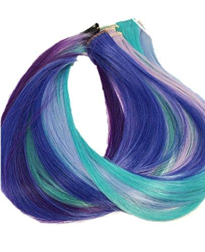 Prettyland - GHW08 bunte Strähnen multifarbig Extension Set 12-teilig Haarteil Clip-In glatt - Lila Blau Grün Set 2