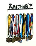 Custom Personalized Name Medal Holder Boy Men Man Male Karate Taekwondo Tae Kwon Do Belt Awards Display Hanger Rack with Hooks 60+ Medals Ribbons Sports 16'' Wide Made To Order With Your Name On It