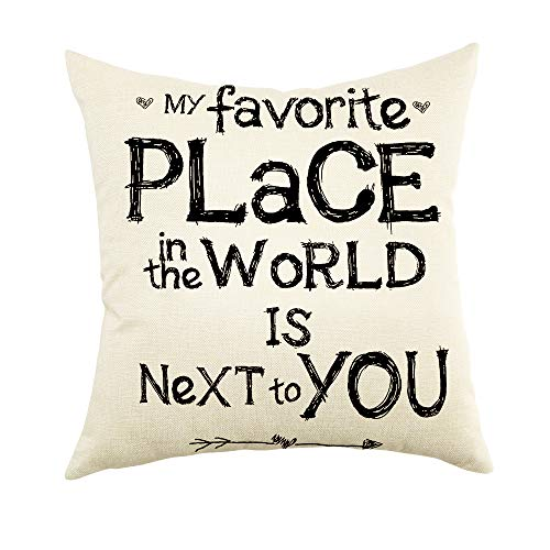 """Ogiselestyle My Favorite Place in The World is Next to You Inspirational Quote Cotton Linen Home Decorative Throw Pillow Case Cushion Cover for Sofa Couch, 18"""" x 18"""""""