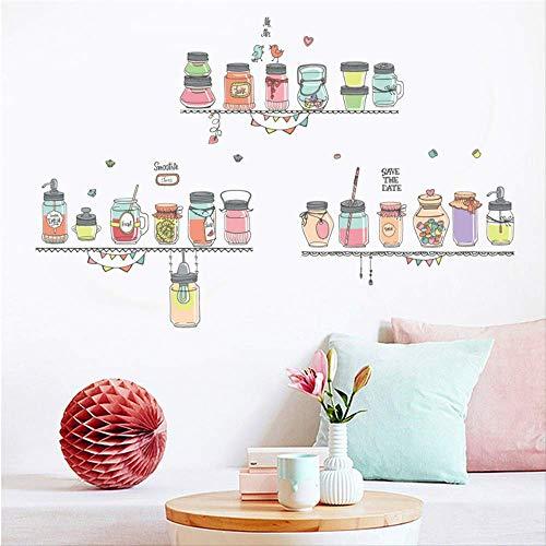 LWJZQT wandstickers Familie Restaurant Muurstickers Kleurrijke Smoothie Fruit Juice Fles Candy Jar Muursticker DIY Home Decor Decals