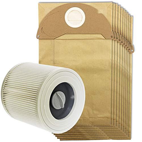 Spares2go bolsas de polvo y filtro de cartucho para aspiradoras Kärcher MV2IPX4(Filtro, 5bolsas, 10bolsas + opcional bolsa ambientador palos), Cartridge Filter + 10 Bags