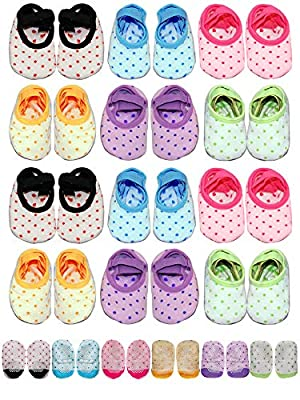 Baby Toddler Girls Grip Socks1-3 Year Old Anti Slip w/Strap 12 Pack Value Gift Set (Rainbow, 1_year) by