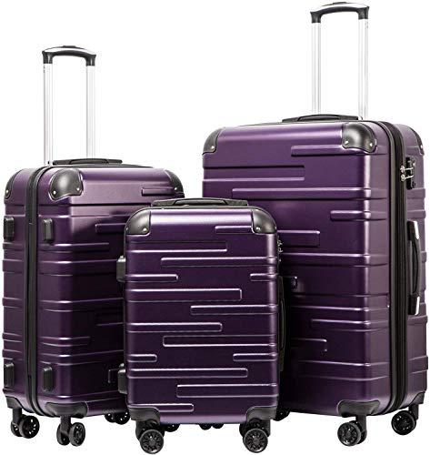 COOLIFE Hartschalen-Koffer Rollkoffer Reisekoffer Vergrößerbares Gepäck (Nur Großer Koffer Erweiterbar) ABS Material mit TSA-Schloss und 4 Rollen(Violett, Koffer-Set)
