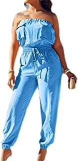 FSSE Women Sleeveless Strapless Pockets Elastic Waist Overalls Jumpsuit Romper
