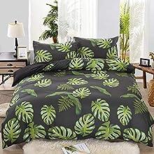 Tropical Hoja Juego de Cama Gris Blanco Negro Azul Verde Hoja de Tortuga Árbol de Coco Multicolor Microfibra Estilo Rústico Funda nórdica (Estilo 1,220x240 cm-Cama 150 cm)