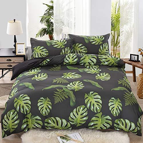 Tropical Hoja Juego de Cama Gris Blanco Negro Azul Verde Hoja de Tortuga Árbol de Coco Multicolor...