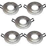 pack de 5 AROS ARO empotrable ojo de buey redondo aluminio, diametro de corte 75mm, apto para bombilla dicroica LED, casquillo porcelana GU10 incluido