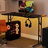 Sunmery Mesa de juegos con 6 colores LED de escritorio grande Gaming para PC, mesa ergonómica de gaming, mesa de ordenador con controlador, gancho para auriculares (120 x 60 cm)