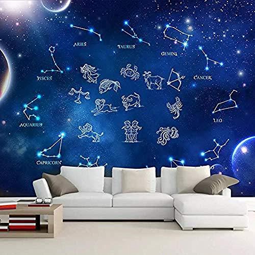 Atmosphärische Fantasie 12 Sternbild Papier 3D-Galaxie Sternenfilm Wand Schlafzimmer Wohnzimmer Dekoration Wandbild Wanddekoration fototapete 3d Tapete effekt Vlies wandbild Schlafzimmer-200cm×140cm