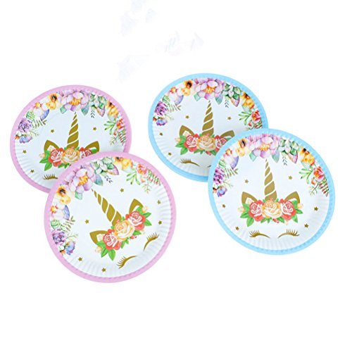 Muhuyi Magical Unicorn Plates Paper Dessert Plates Set for Children's Unicorn Birthday Party Wedding Party 30 Pack