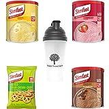 KIT SlimFast composto da sostituti del pasto ad alto contenuto proteico frullati al cioccolato 300 g + 2 gusti, 3 salatini panna acida ed erba cipollina 23 ge uno shaker 700 ml