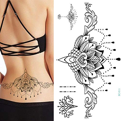 tzxdbh 1pc Pecho Flash Tattoo 23 Modelos Gran Flor mágica Negra ...