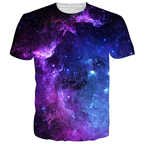 NEWISTAR Neuheit T Shirts Herren 3D Personalisierte Galaxis Casual Rundhals Kurzarm Tee Tops M