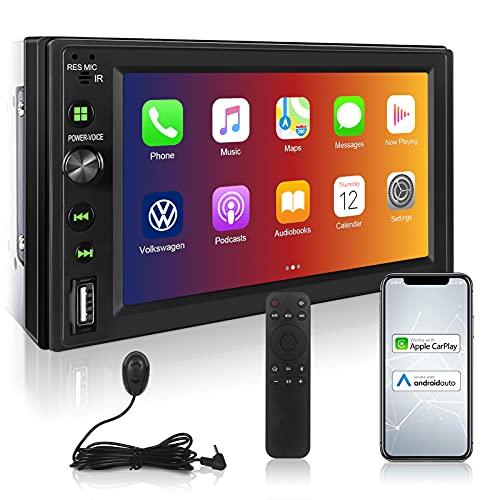 Doppel Din Autoradio mit CarPlay und Android Auto, Bluetooth, Wifi, Mirrorlink, OUSMIN 7\'\' Touchscreen Armaturenbrett-Einbau-Videogeräte - EQ Soundsystem, FM Autoradio, SD AUX USB Eingang, mit Mik