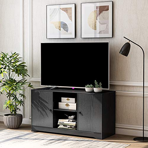 Merax TV Stand TV Cabinet with Open Storage Shelves & 2 Storage Cabinets,Media Console Table for Home Living Room Bedroom (Black)