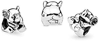 Romántico Amor Fit Pandora Bracelet Charms Devoted Puppy Dog/Lucky Elephant/Curious Cat/Sea Turtle/Dolphin/Koala Char...