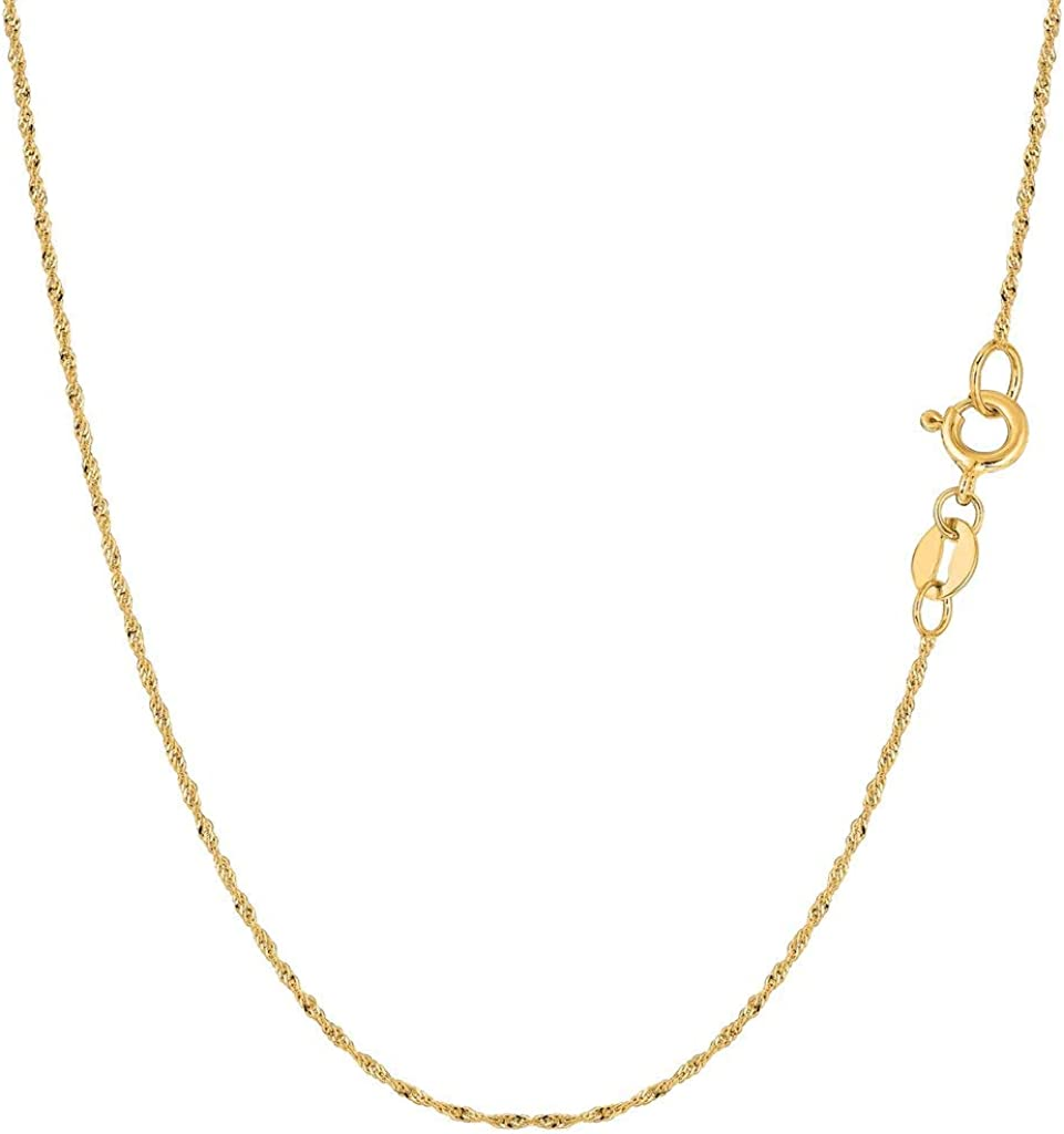 14K Yellow or White Gold 1.00mm Shiny Diamond-Cut Classic Singapore Chain Necklace for Pendants and Charms with Spring-Ring Clasp (7