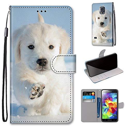 Miagon Flip PU Leder Schutzhülle für Samsung Galaxy S5,Bunt Muster Hülle Brieftasche Hülle Cover Ständer mit Kartenfächer Trageschlaufe,Schnee H&
