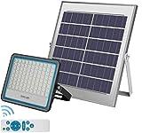 LEDMO Foco Solar LED 100W,Foco 100W Solar Mando a Distancia con Mando a distancia Luz blanca 6500K,LED Solar Exterior Hasta 15 HORAS de Luz,Lámpara Solar 176 LEDS IP67 Impermeable