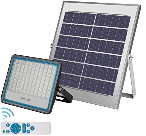 Foco Solar LED 100W,Luz Solar Exterior IP67 Impermeable Luz Blanco-Neutro 6500K ,Iluminación Solar 10000 LM Lámpara Solar Ángulo 120º Con Placa Solar y Mando Remote Jardín Patio Terraza Camping
