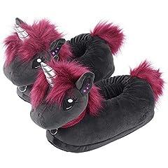 Idea Regalo - corimori (20+ designs) Pantofole Peluche Animali Donna Uomo Bambini, Taglia Unica 34-44, Unicorno Nero, 1847