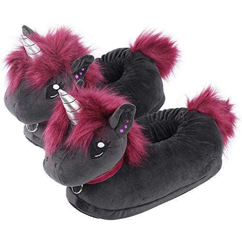corimori (20+ designs) Pantofole Peluche Animali Donna Uomo Bambini, Taglia Unica 34-44, Unicorno Nero, 1847