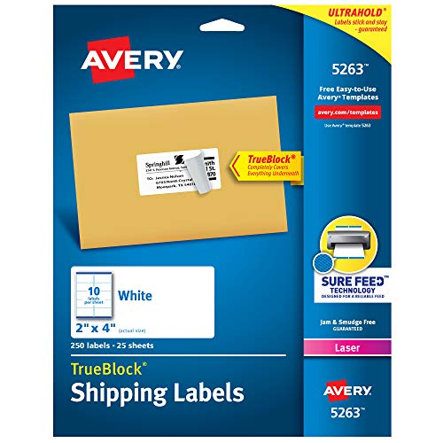 Avery Shipping Address Labels, Laser Printers, 250 Labels, 2x4 Labels, Permanent Adhesive, TrueBlock (5263)