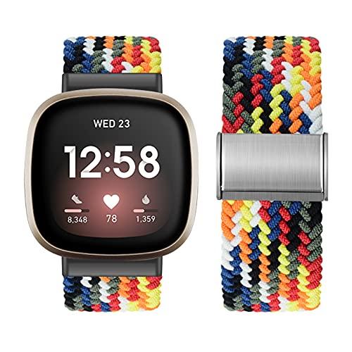 Vozehui Correas trenzadas de solo bucle compatibles con Fitbit Versa 3/Fitbit Sense, correa de repuesto ajustable de nailon elástico suave para Fitbit Versa 3, Fitbit Sense, mujeres y hombres,