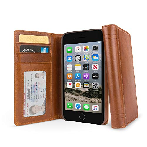 Twelve South Journal for iPhone 8/ 7/ 6 | Leather Wallet Shell and Display Stand (cognac)