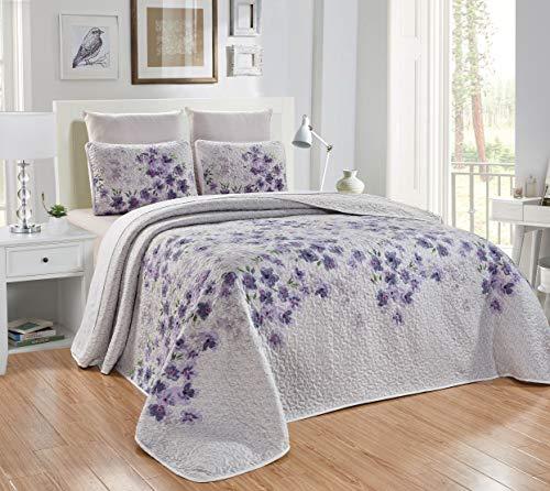 "3-Piece Fine Printed Oversize (115"" X 95"") Quilt Set Reversible Bedspread Coverlet King Size Bed Cover (Purple, Grey, Sage Green, Black Floral)"