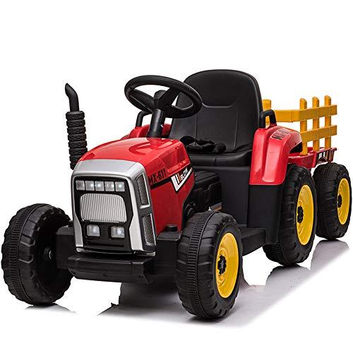 Paseo En Tractor Eléctrico Tractor Pedal con Remolque para Niños 3-6 Años...
