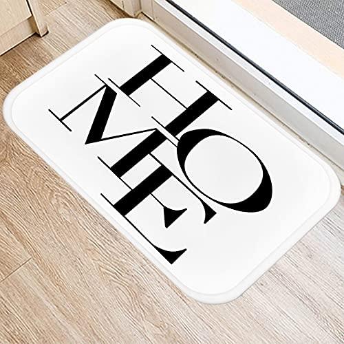 HLXX Nordic Black Geometric Kitchen Entrance Door Mat Coral Velvet Carpet Rubber Indoor Floor Mats Non-Anti-Slip Rug A12 40x60cm