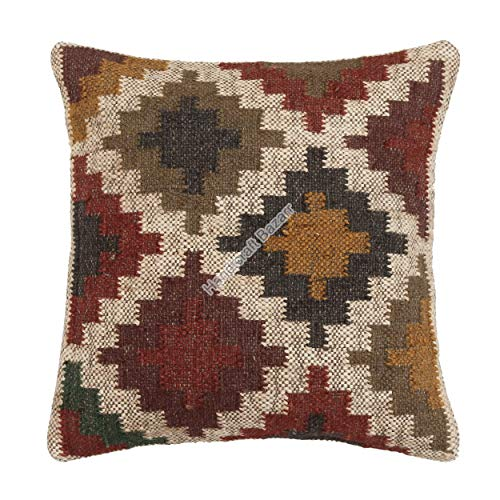 Handicraft Bazarr Funda de almohada de yute de lana para decoración del suelo, funda de almohada rústica, funda de cojín turca de 45,7 cm (4 piezas)