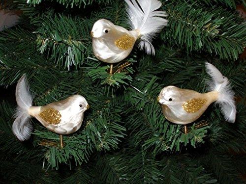 """3 tlg. Glas Vogel Set in \""""Ice Champagner Gold\"""" - Christbaumkugeln - Weihnachtsschmuck-Christbaumschmuck"""