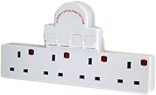 Pro-Elec 13 A 4 Way Switched Adaptor with Surge Protection - White