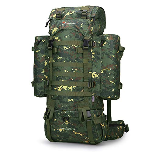 Mardingtop 65+10L/65L Molle Hiking Internal Frame Backpacks with Rain Cover (Hunter Camouflage-65+10L)