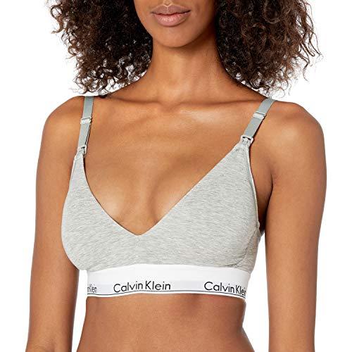 Calvin Klein Women's Modern Cotton Lightly Lined Triangle Nursing Bra, Heather Grey, Small
